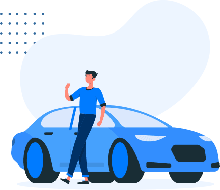 illustration of a person standing beside a new car
