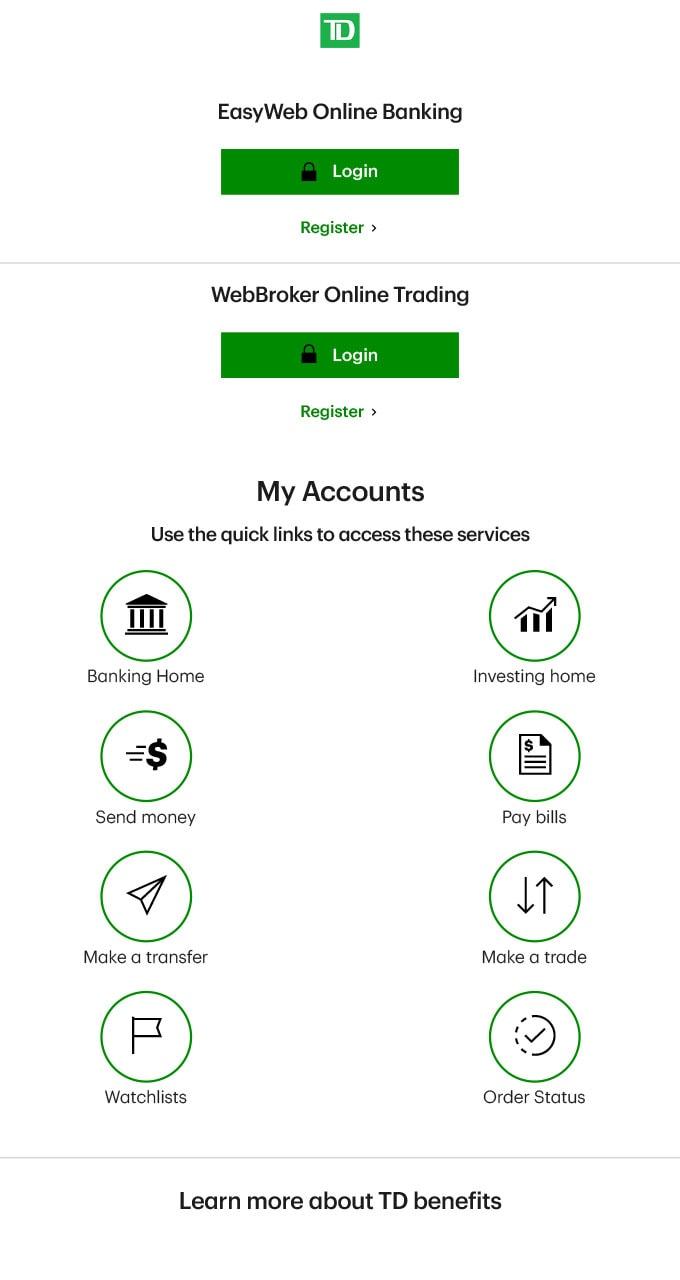 TD Bank Online Image