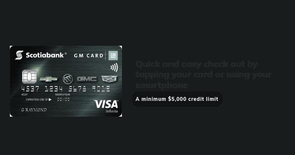 gm infinate visa card info