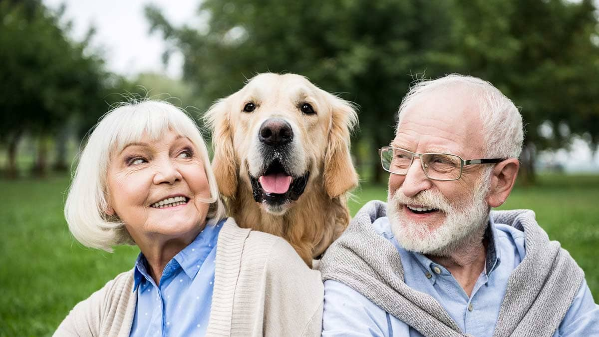 Retired Couple with Dog Image