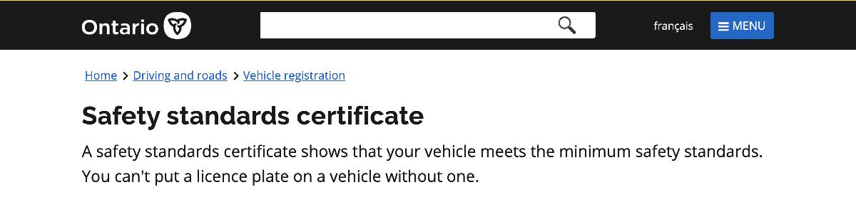 Safty Standards website Image