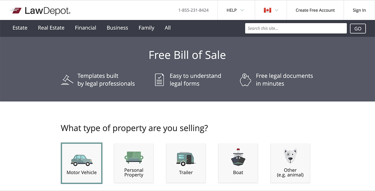 Bill of Sale website image
