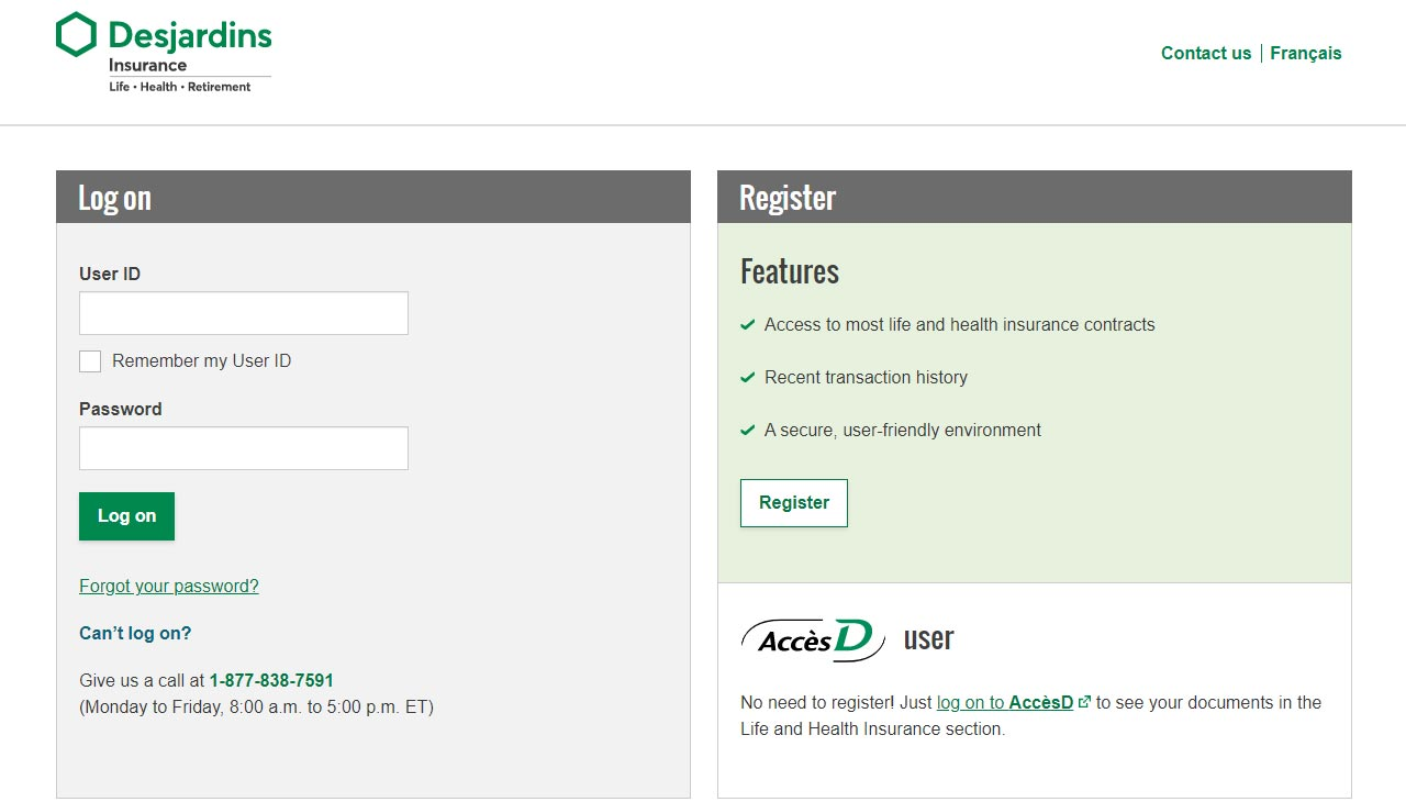 Desjardins Insuance login and registration screenshot