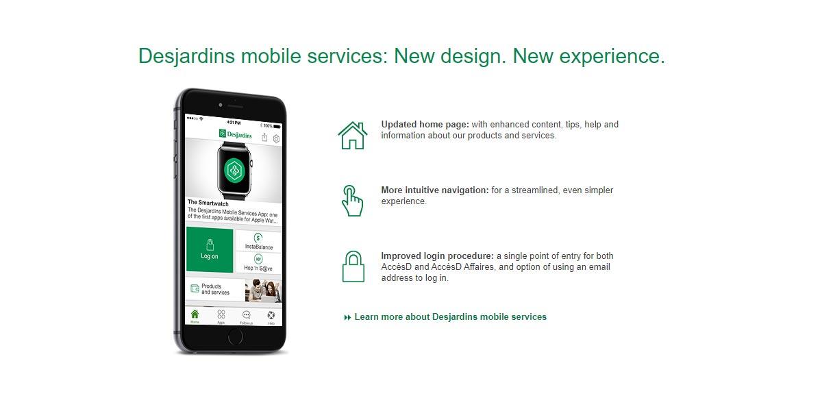 desjardins insuance mobile app login screenshot