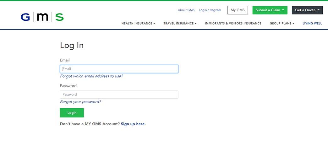 gms insuance login screenshot