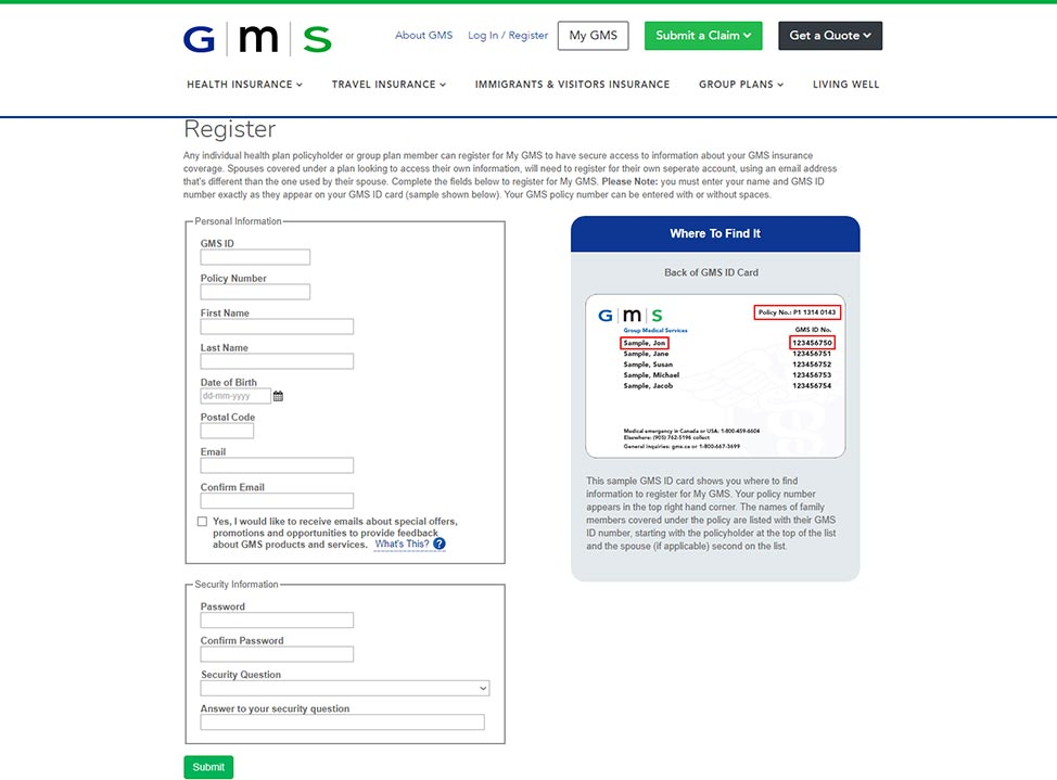 gms insuance online registration screenshot
