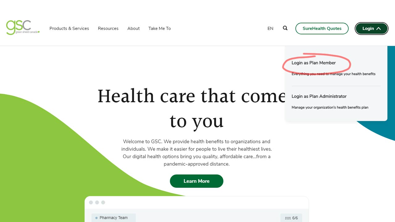 green shield insuance login screenshot