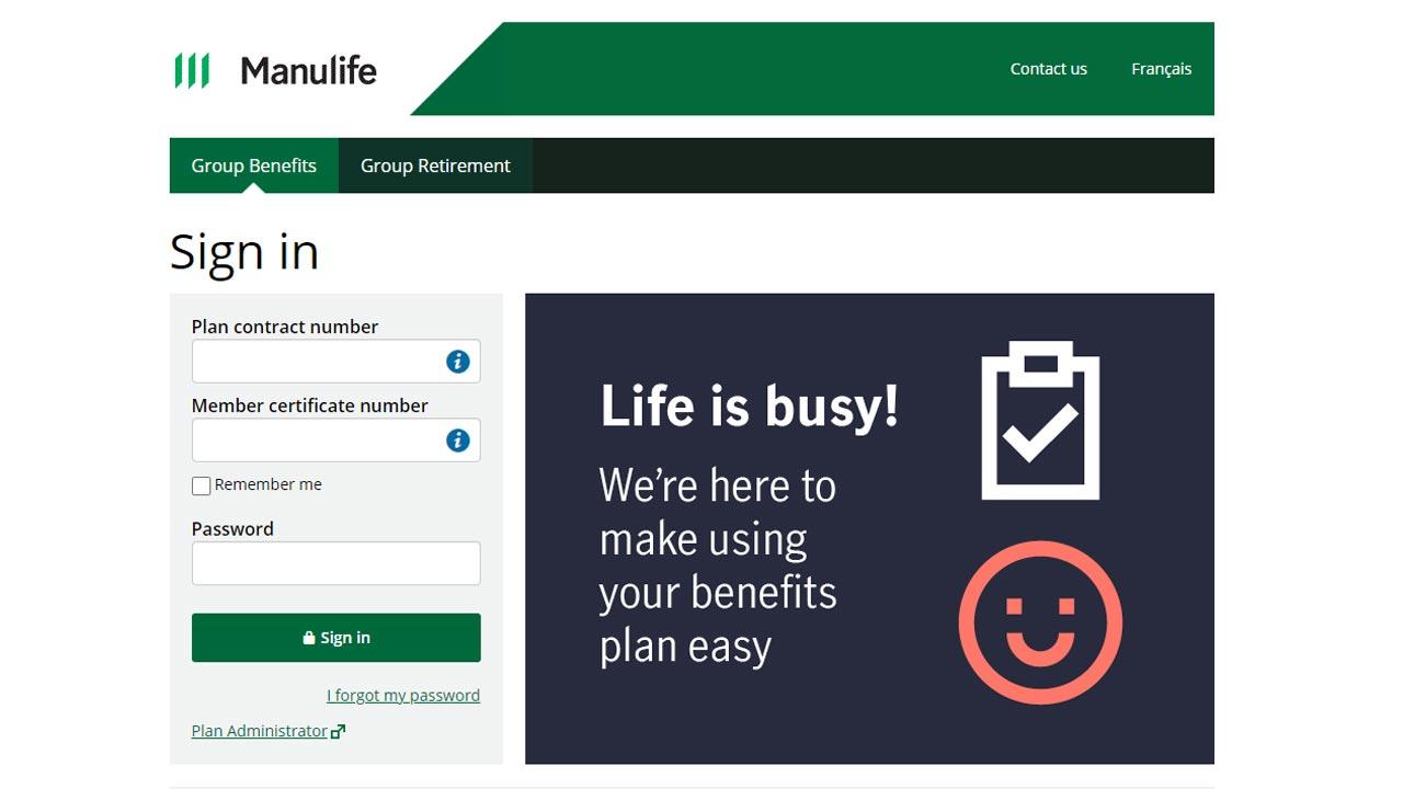 manulife group insuance login screenshot
