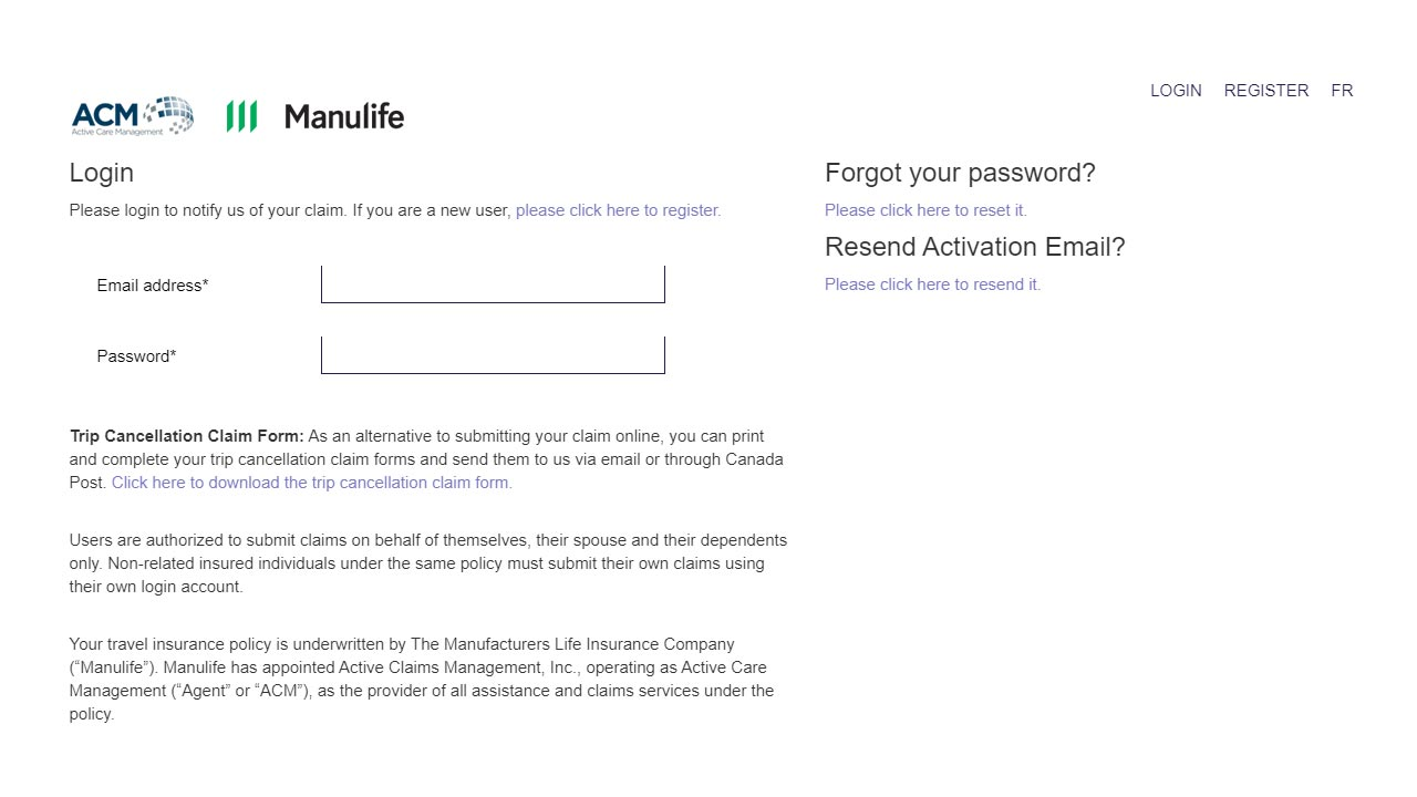 manulife travel insuance login screenshot