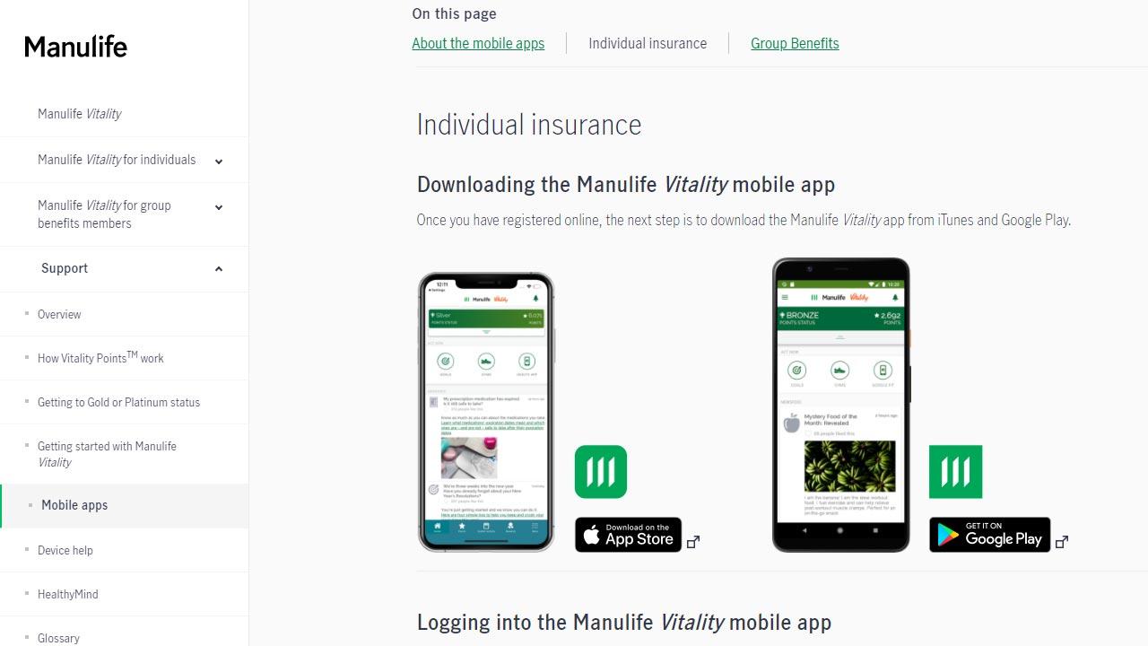 manulife vitality app login screenshot
