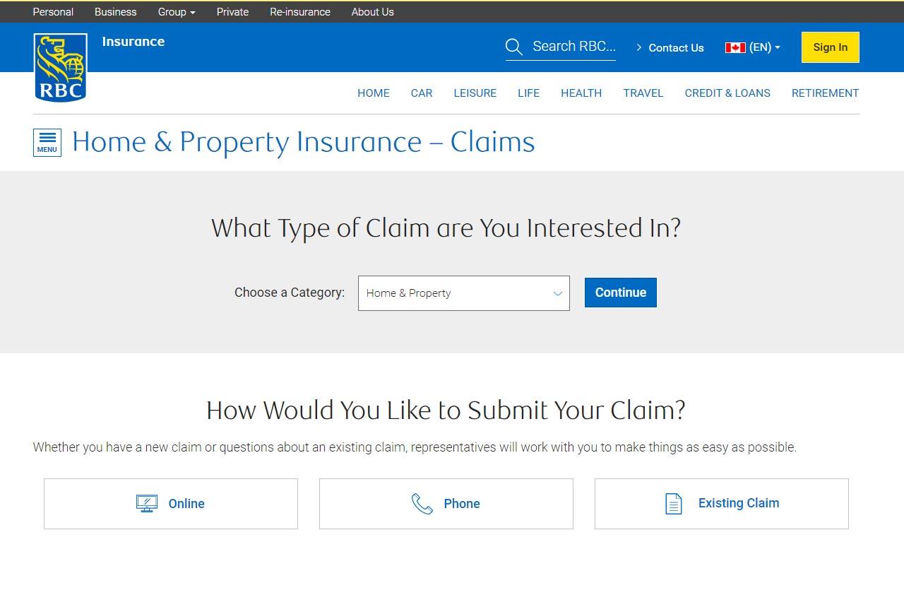 rbc insuance portal home claim screenshot