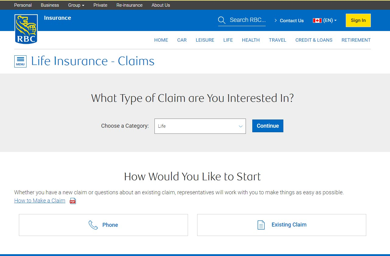 rbc insuance portal life claim screenshot