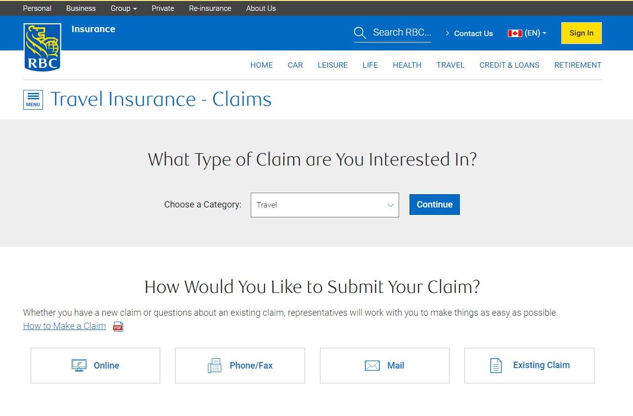 rbc insuance portal travel claim screenshot