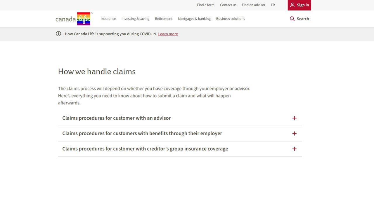 Canada Life website claim screenshot