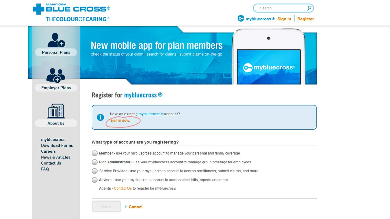 manitoba blue cross website login screenshot