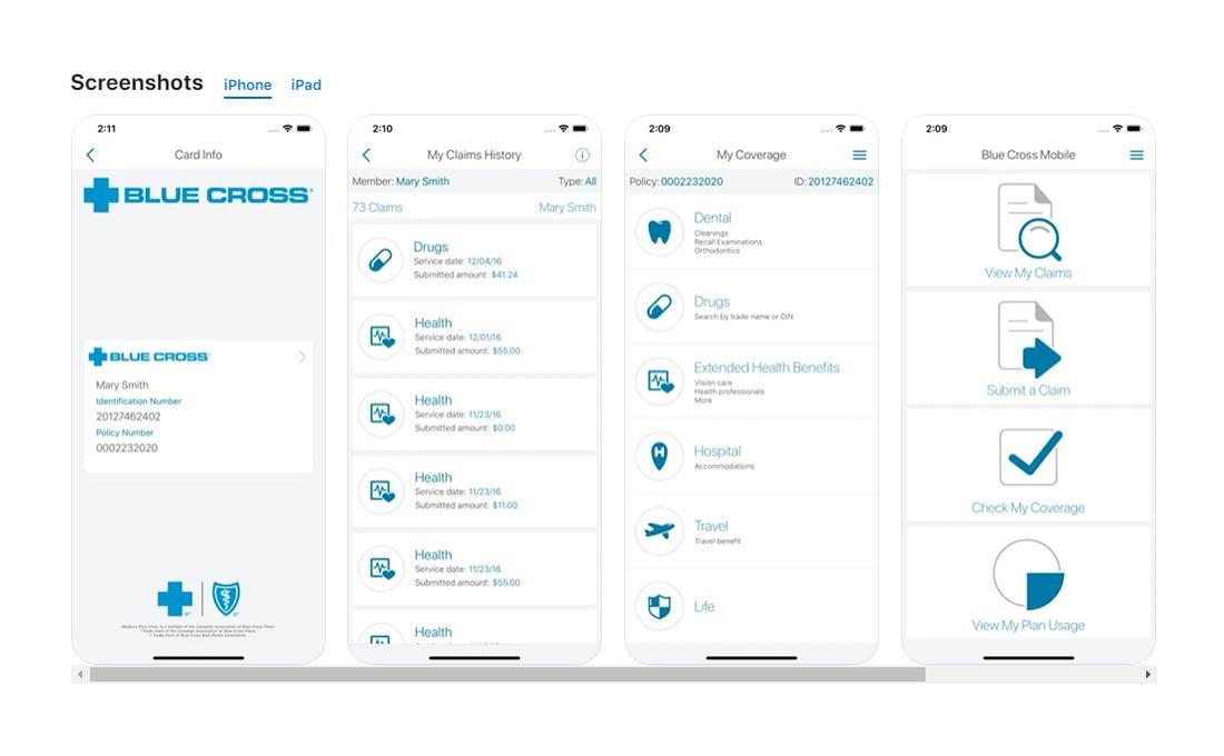 medavie blue cross mobile app claim screenshot