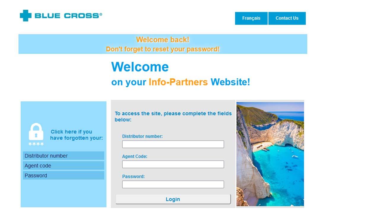 ontario blue cross website login screenshot