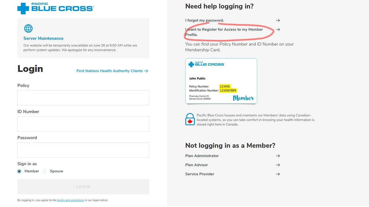 pacific blue cross website login screenshot