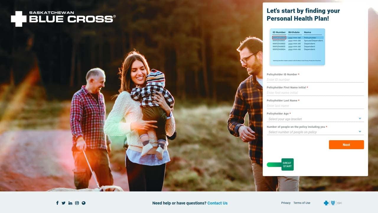 saskatchewan blue cross website login screenshot