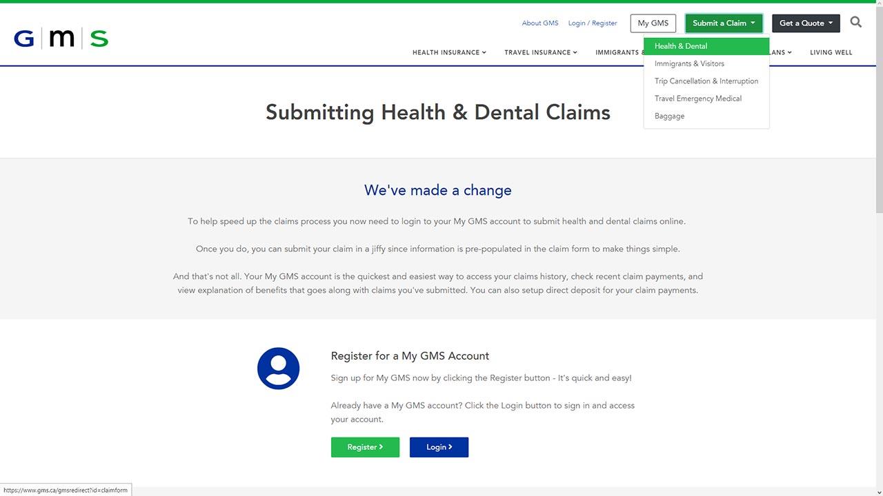 gms insuance online claim screenshot