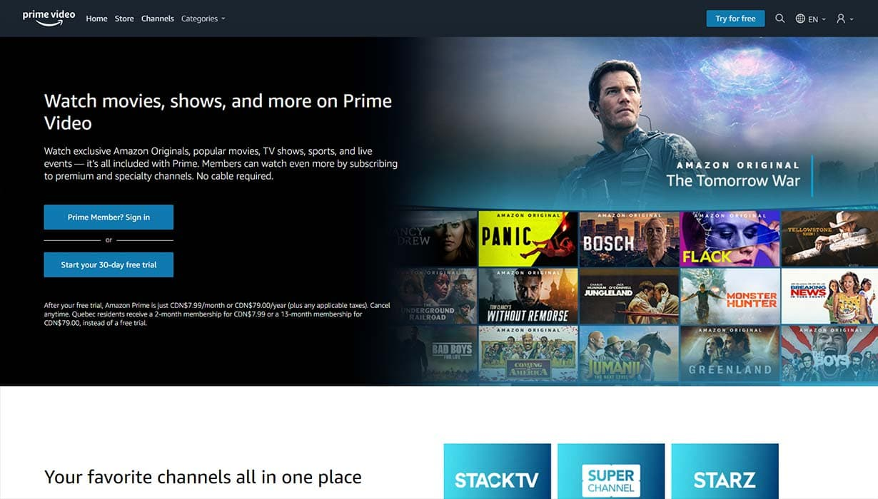 amazon prime video website screenshot