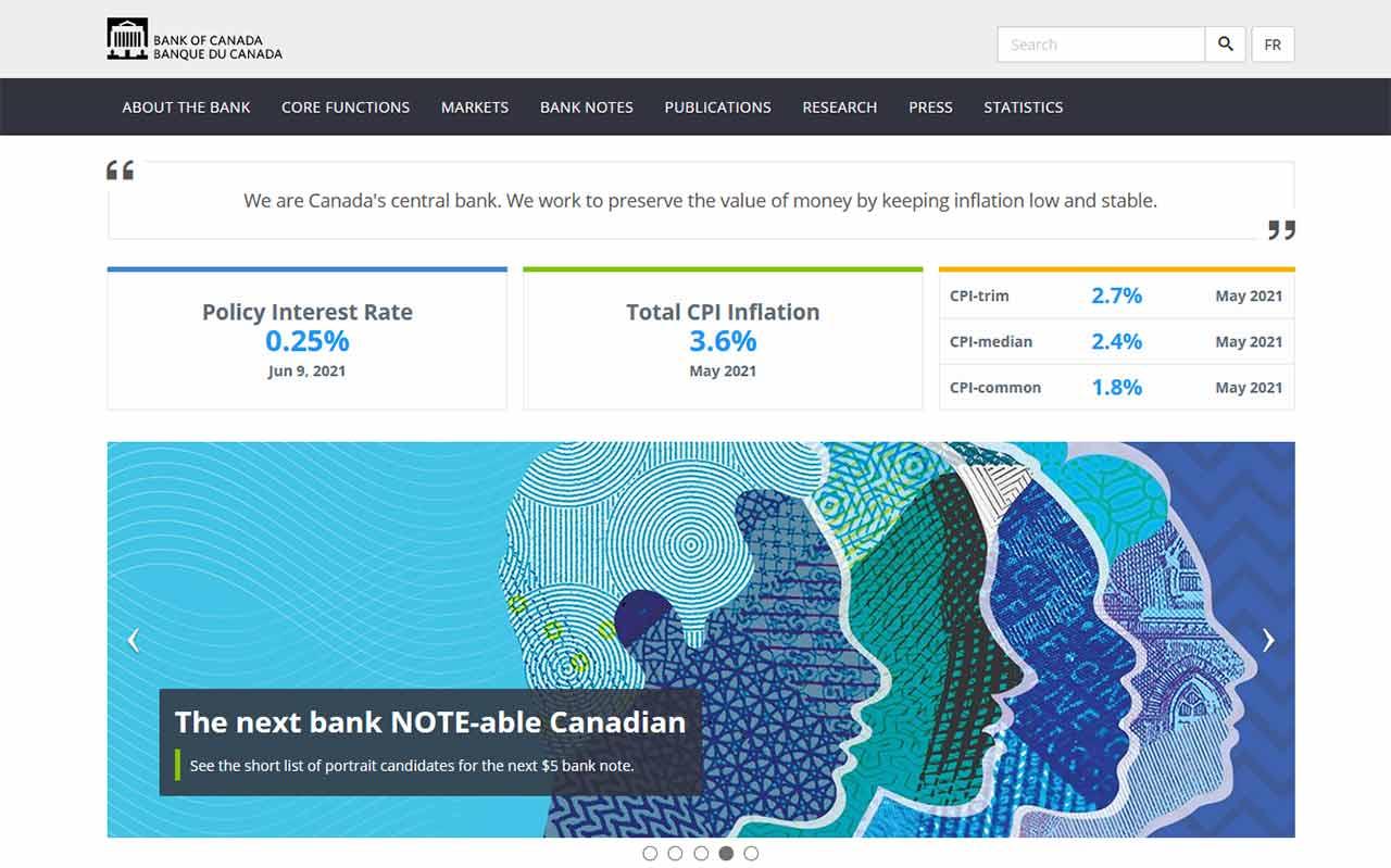 bank of canada website screenshot