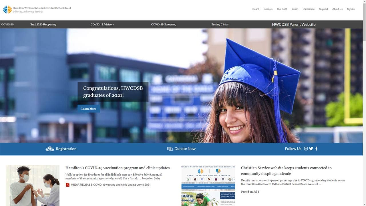 HWCDSB eLearning Portal screenshot