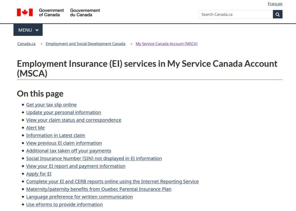 Service Canada website EI Application screenshot