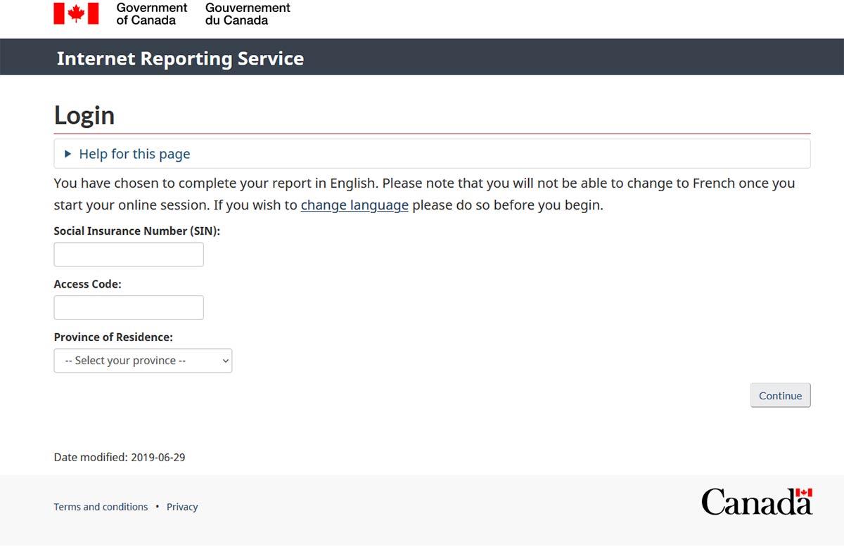 service canada website ei reporting screenshot