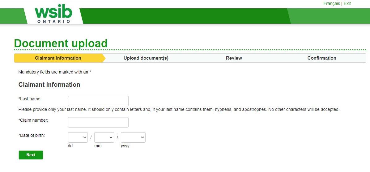 WSIB Claim website screenshot