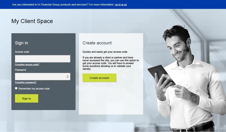 ia website client log in screenshot