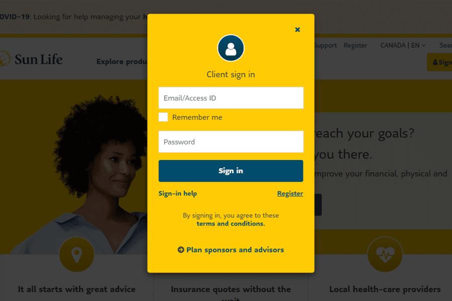sunlife online login form