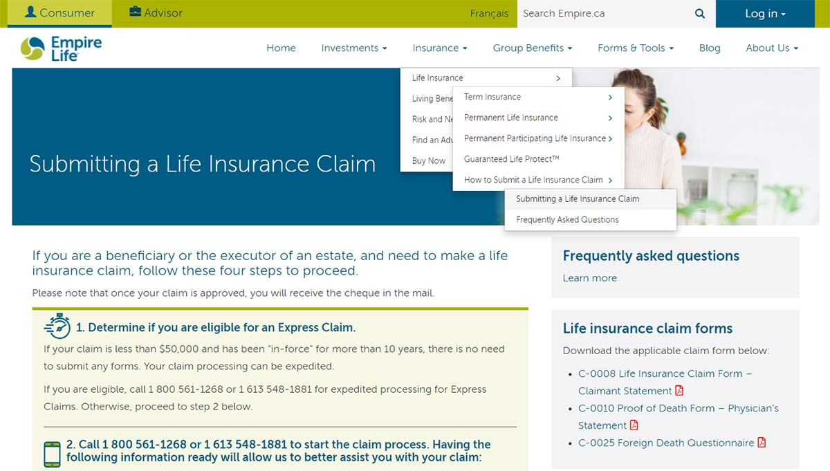 empire life submit a claim online