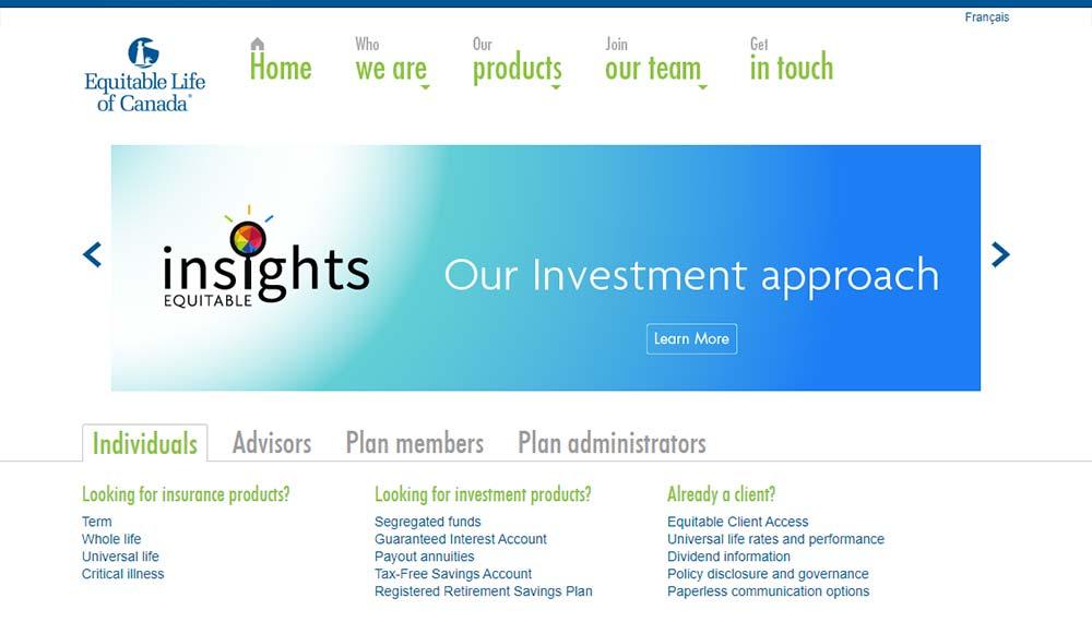 Equitable Life website