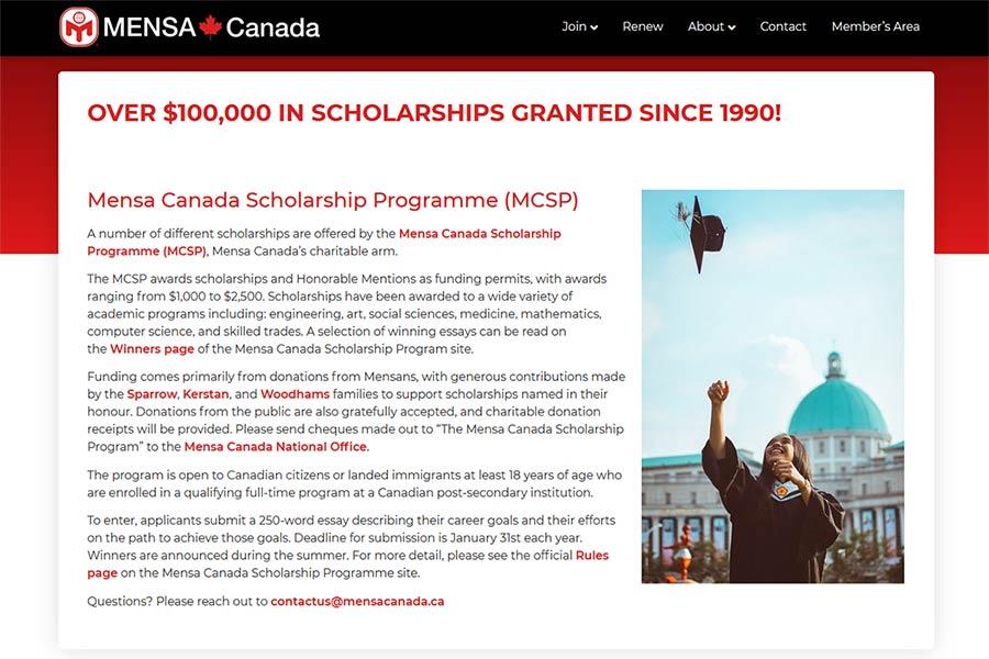 mensa canada scholarship