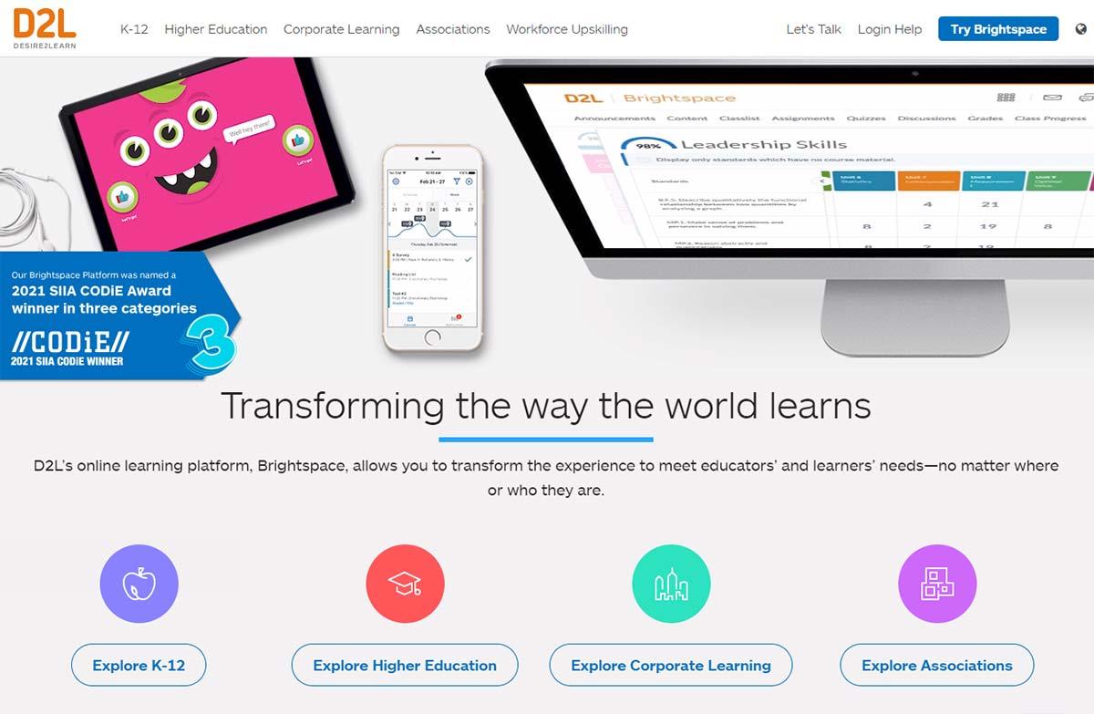 Brightspace website