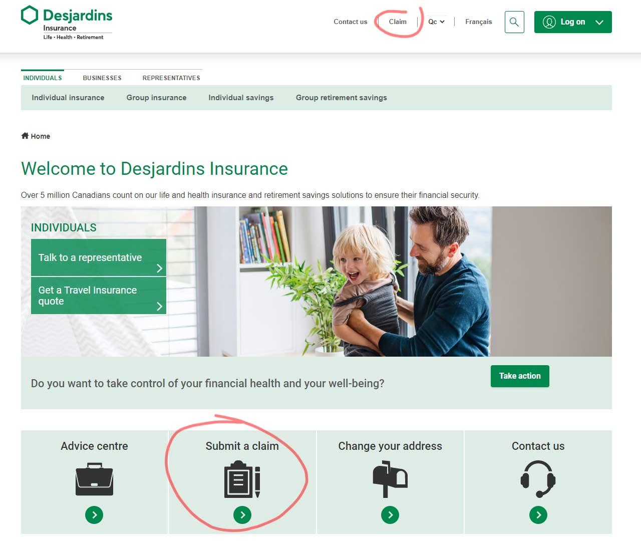 Desjardins Insuance Portal claim screenshot